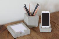 Het Noteboompje cementen bureauset cement pennenbakje telefoonhouder notitieblaadjes pennenbak stationery beton betonnen