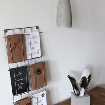 Het Noteboompje cementlamp met textielsnoer lamp cement textieldraad