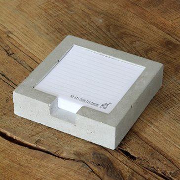 Het Noteboompje Cementen notitieblaadjeshouder cement stationery notitieblaadje beton betonnen