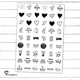 Het Noteboompje stickers etiket etiketjes snailmail giftwrapping zwart wit zwartwit zwart-wit zwart/wit doodle