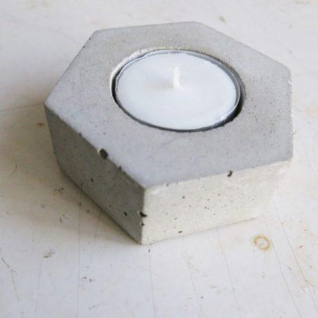 waxinelichthouder cement 6-kant theelichthouder theelicht waxinelicht kaars kaarsje