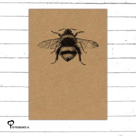 Het Noteboompje kaart kaartje A6 zwart wit zwartwit zwart-wit zwart/wit woonkaart kraft insect hommel