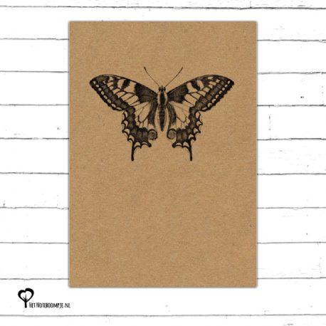 Het Noteboompje kaart kaartje A6 zwart wit zwartwit zwart-wit zwart/wit woonkaart kraft insect vlinder