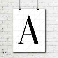 Het Noteboompje poster zwart wit zwartwit zwart-wit zwart/wit letterposter naamposter letter naam grid raster ruitjes