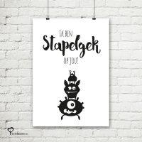 Het Noteboompje poster zwart wit zwartwit zwart-wit zwart/wit stapelgek monsters gekken quote