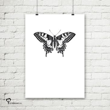 Het Noteboompje poster zwart wit zwartwit zwart-wit zwart/wit insecten insect vlinder pentekening schets