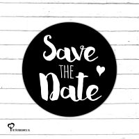 Het Noteboompje zwart wit zwartwit zwart-wit zwart/wit monochrome monochroom sticker etiket sluitzegel snailmail save the date savethedate trouwen trouwkaart huwelijk bruiloft