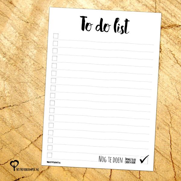 Notitieblok A6 – To do list