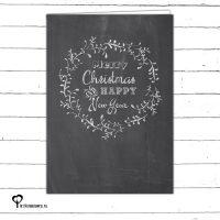 Het Noteboompje kerstkaart christmas christmascard x-mas xmas card zwartwit zwart-wit zwart wit monochrome monochroom krijtbord chalkboard