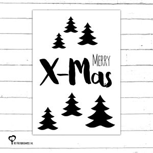 Het Noteboompje zwartwit zwart-wit zwart wit monochrome monochroom kerstkaart christmas christmascard x-mas xmas card