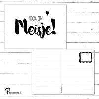 Het Noteboompje hoera meisje kaart woonkaart felicitatiekaart geboortekaart geboortekaartje geboorte baby zwartwit zwart-wit zwart wit monochrome monochroom