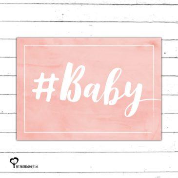 #baby geboortekaart geboorte geboren meisje zalm roze aquarel watercolor felicitatiekaart hip kaart kaartje kaarten het noteboompje a6