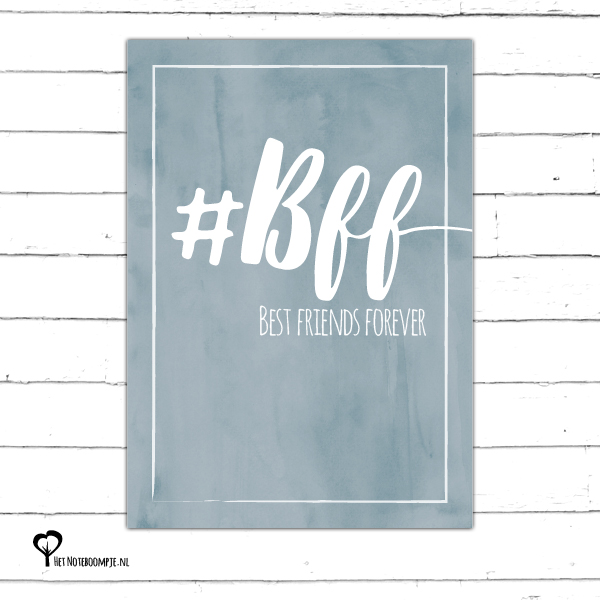 #bff bff best friends forever blauw denim drift denimdrift kaart hip kaartje kaarten het noteboompje a6 watercolor aquarel