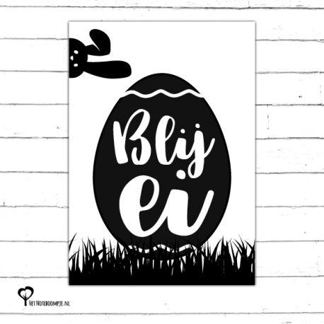 Het Noteboompje kaart woonkaart zwartwit zwart-wit zwart wit monochrome monochroom vrolijk pasen paaskaart paasfeest blij ei blijei paashaas