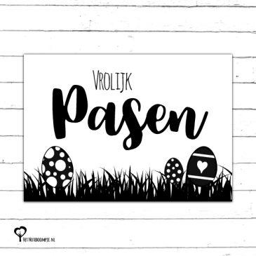 Het Noteboompje kaart woonkaart zwartwit zwart-wit zwart wit monochrome monochroom vrolijk pasen paaskaart paasfeest