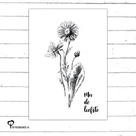 Het Noteboompje kaart woonkaart zwartwit zwart-wit zwart wit monochrome monochroom moederdag ma de liefste madeliefste madeliefje