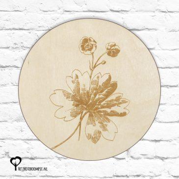 boterbloem boterbloempje bloem bloempje bloemetje plant planten botanical het noteboompje muurcirkel muurcirkels wandcirkel wandcirkels tuincirkel tuincirkels muur wand cirkel rond rondje afbeelding schilderij