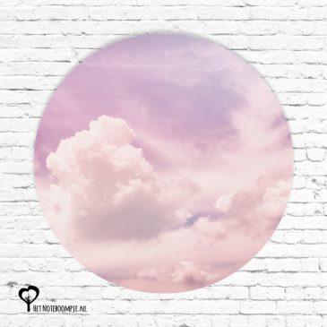 het noteboompje muurcirkel muurcirkels wandcirkel wandcirkels tuincirkel tuincirkels muur wand cirkel rond rondje afbeelding schilderij schutting poster tuin roze wolken lucht hemel