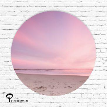 het noteboompje muurcirkel muurcirkels wandcirkel wandcirkels tuincirkel tuincirkels muur wand cirkel rond rondje afbeelding schilderij schutting poster tuin roze wolken lucht hemel strand zonsondergang
