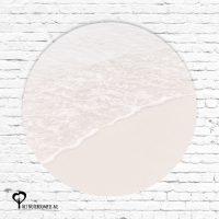 zee strand zand branding golven roze rustgevend het noteboompje muurcirkel muurcirkels wandcirkel wandcirkels tuincirkel tuincirkels muur wand cirkel rond rondje afbeelding schilderij schutting poster tuin
