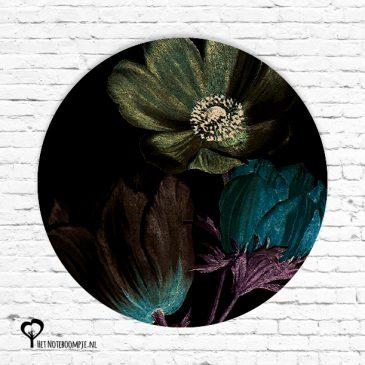 roos tulp tulpen bloem bloemen donker zwart flora het noteboompje muurcirkel muurcirkels wandcirkel wandcirkels tuincirkel tuincirkels muur wand cirkel rond rondje afbeelding schilderij schutting poster tuin