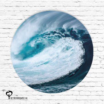 branding blauw golf golven natuur het noteboompje muurcirkel muurcirkels wandcirkel wandcirkels tuincirkel tuincirkels muur wand cirkel rond rondje afbeelding schilderij schutting poster tuin