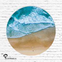 branding blauw zand strand golf golven het noteboompje muurcirkel muurcirkels wandcirkel wandcirkels tuincirkel tuincirkels muur wand cirkel rond rondje afbeelding schilderij schutting poster tuin