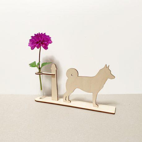 husky siberische husky hond honden hondenliefhebber cadeau kado kadootje reageerbuis reageerbuisje bloem bloemmetje hout houten berken het noteboompje