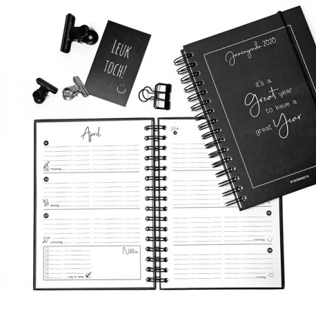 jaaragenda agenda kalender planner jaar notities notitie to do list zwart wit zwartwit zwart-wit doodle quotes agenda 2020 het noteboompje