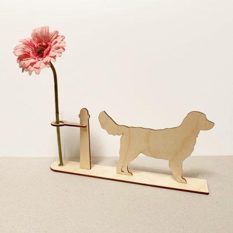 golden Retriever hond honden hondenliefhebber cadeau kado kadootje reageerbuis reageerbuisje bloem bloemmetje hout houten berken het noteboompje