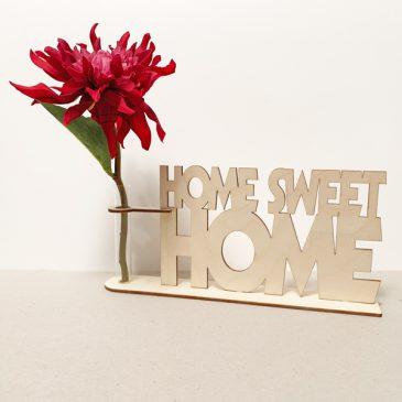zeg het met hout home sweet home huis thuis cadeau kado kadootje reageerbuis reageerbuisje bloem bloemmetje hout houten berken het noteboompje