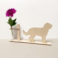 labradoodle labradoodles hond honden hondenliefhebber cadeau kado kadootje reageerbuis reageerbuisje bloem bloemmetje hout houten berken het noteboompje