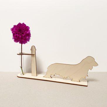 langharige langharig teckel teckels tekkel tekkels hond honden hondenliefhebber cadeau kado kadootje reageerbuis reageerbuisje bloem bloemmetje hout houten berken het noteboompje
