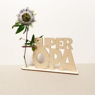 super opa superopa grootvader cadeau kado kadootje reageerbuis reageerbuisje bloem bloemmetje hout houten berken het noteboompje