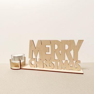 Merry Christmas prettige kerst kertmis kerstfeest waxinelichthouder waxinelicht theelicht theelichtje kaars kaarsje zeg het met hout cadeau kado kadootje hout houten berken het noteboompje