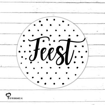 zwart wit zwartwit zwart-wit zwart/wit monochrome monochroom sticker etiket sluitzegel snailmail cadeausticker cadeautje kadosticker kadootje feest Het Noteboompje