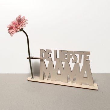 de liefste mama mam moeder ma lief lieve moederdag cadeau kado kadootje reageerbuis reageerbuisje bloem bloemmetje hout houten berken het noteboompje