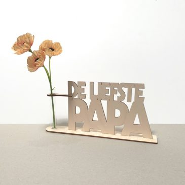 de liefste papa pap vader pa lief lieve vaderdag cadeau kado kadootje reageerbuis reageerbuisje bloem bloemmetje hout houten berken het noteboompje