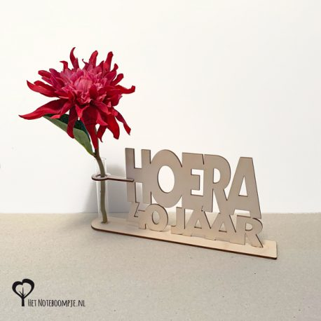 Hoera 40 jaar Cadeau verjaardag kado kadootje cadeautje met reageerbuis vaas vaasje bloem bloemmetje snoep snoepjes het noteboompje