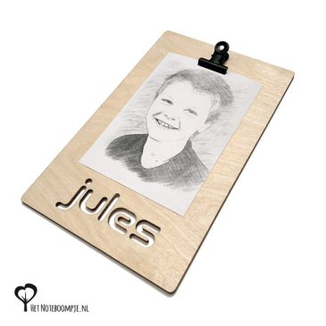 Klembord gepersonaliseerd klembord met naam eigen naam klembordje fotohouder fotolijst kaarthouder kaartklem kado cadeau kadootje cadeautje noteboompje