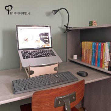 Standaard laptop steun laptopsteun ipad tablet hout thuiswerken kantoor aan huis laptoponderwijs het noteboompje
