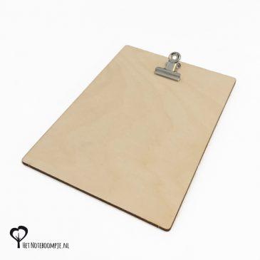 Klembordje voor A6 kaartje of een foto van 10 x 15 cm klembord fotohouder fotolijst kaarthouder kaartklem hout houten berk berken het noteboompje