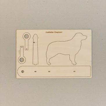 Houten Australian Shepherd mini vaasje