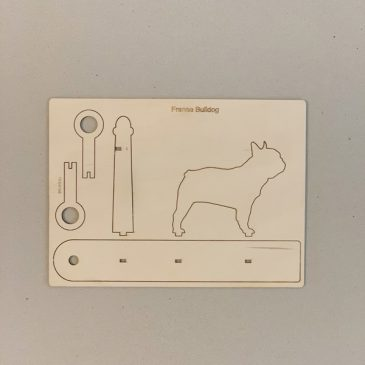 Houten Franse bulldog mini vaasje
