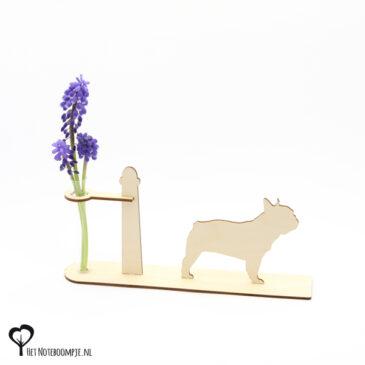 franse bulldog bull dog hond honden hondenliefhebber cadeau kado kadootje reageerbuis reageerbuisje bloem bloemetje hout houten berken het noteboompje