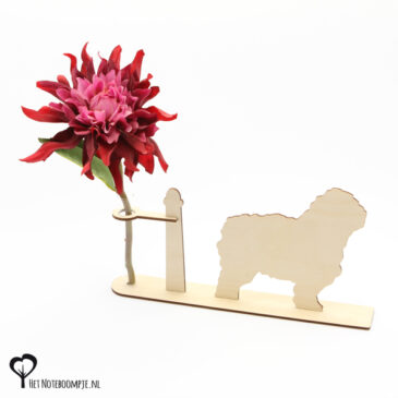 bobtail bob tail hond honden hondenliefhebber cadeau kado kadootje reageerbuis reageerbuisje bloem bloemmetje hout houten berken het noteboompje