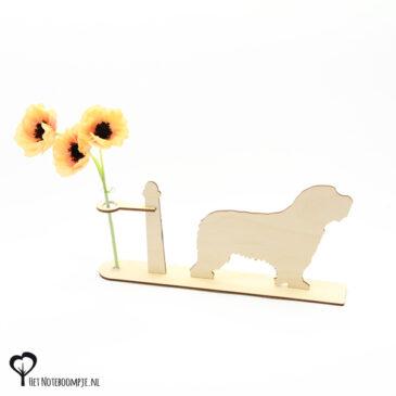 bearded collie beardedcollie hond honden hondenliefhebber cadeau kado kadootje reageerbuis reageerbuisje bloem bloemetje hout houten berken het noteboompje
