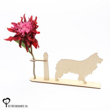 bordercollie border collie lassie hond honden hondenliefhebber cadeau kado kadootje reageerbuis reageerbuisje bloem bloemmetje hout houten berken het noteboompje