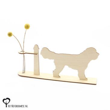 goldendoodle golden doodle hond honden hondenliefhebber cadeau kado kadootje reageerbuis reageerbuisje bloem bloemetje hout houten berken het noteboompje