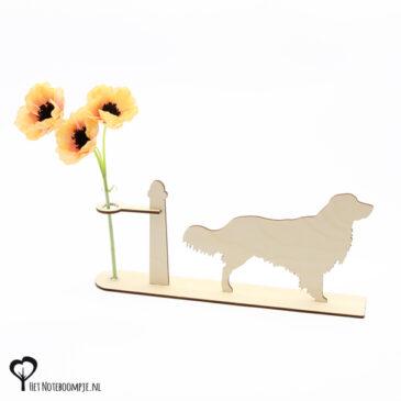 kooiker kooikerhond hond honden hondenliefhebber cadeau kado kadootje reageerbuis reageerbuisje bloem bloemetje hout houten berken het noteboompje